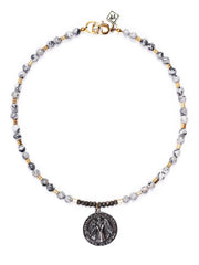 Arezzo Jasper Beaded Necklace with Italian Medallion