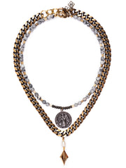 Arezzo Mixed Metal Italian Medallion Necklace Set/2