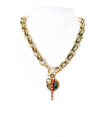 Fredrick Prince SueSue Big Belcher Chain Necklace With Charms And Toggle in Front