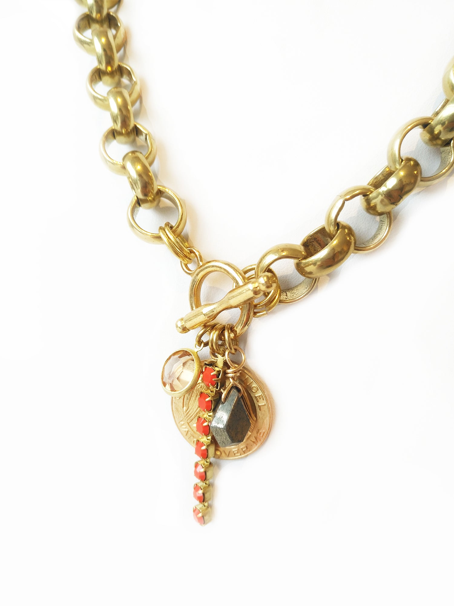 Annabelle Big Gold Belcher Chain Necklace with Toggle in Front
