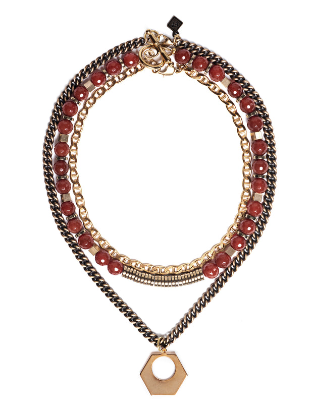 Fredrick Prince Carnelian Sunset Statement Necklace Set/3