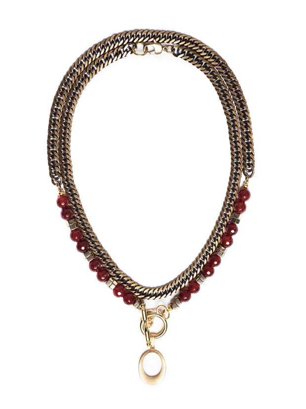 Fredrick Prince Carnelian Layered Toggle Necklace with 14k Gold Set/2Plated Pendant