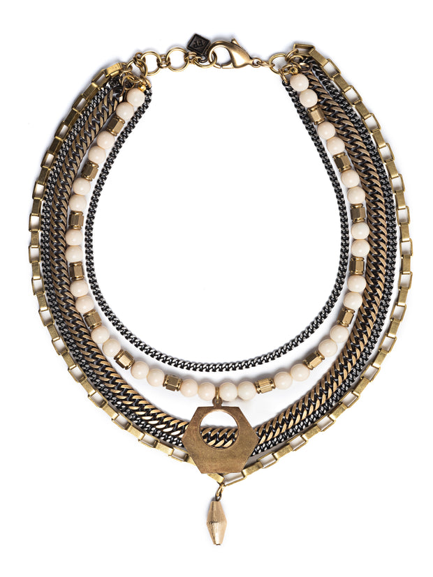 De La Creme Mixed Metal Statement Necklace