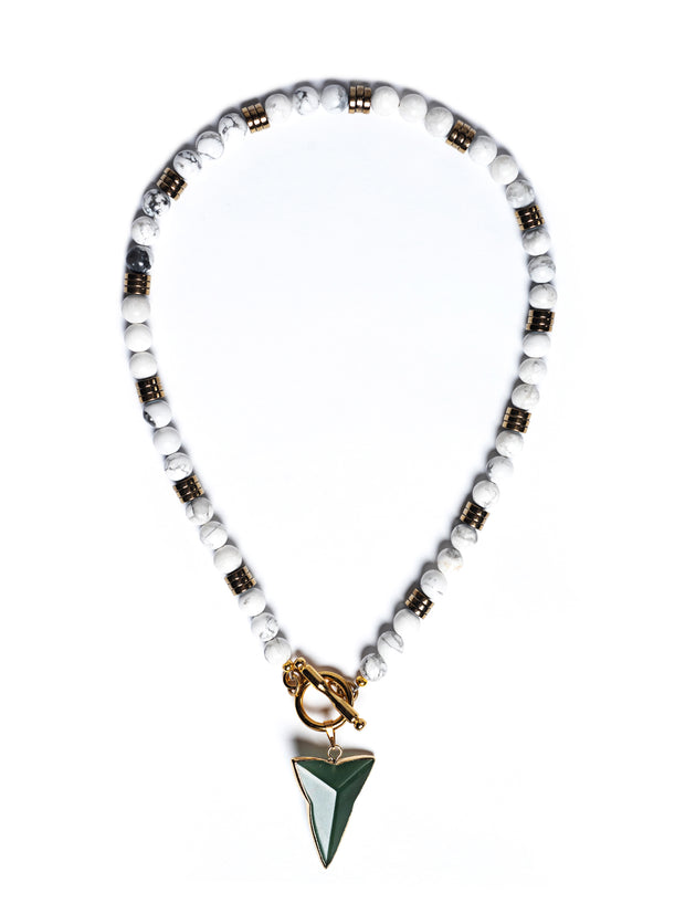 Fredrick Prince Seaside Shark Tooth Howlite Toggle Necklace Set/3