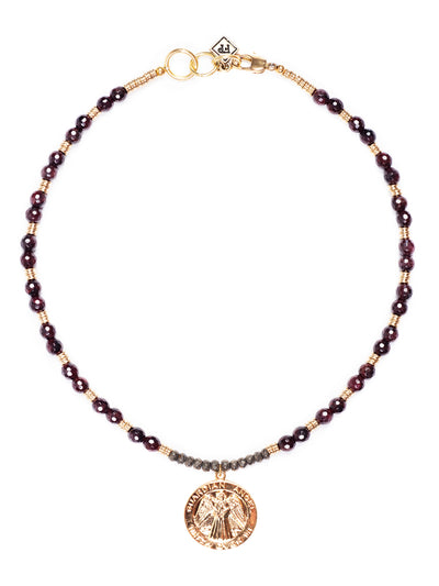 La Scala Garnet Italiam Medallion Necklace