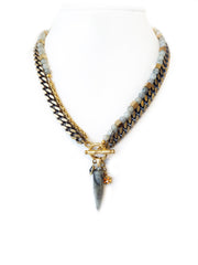 Fredrick Prince Labradorite Bullet Necklace with Toggle in Front