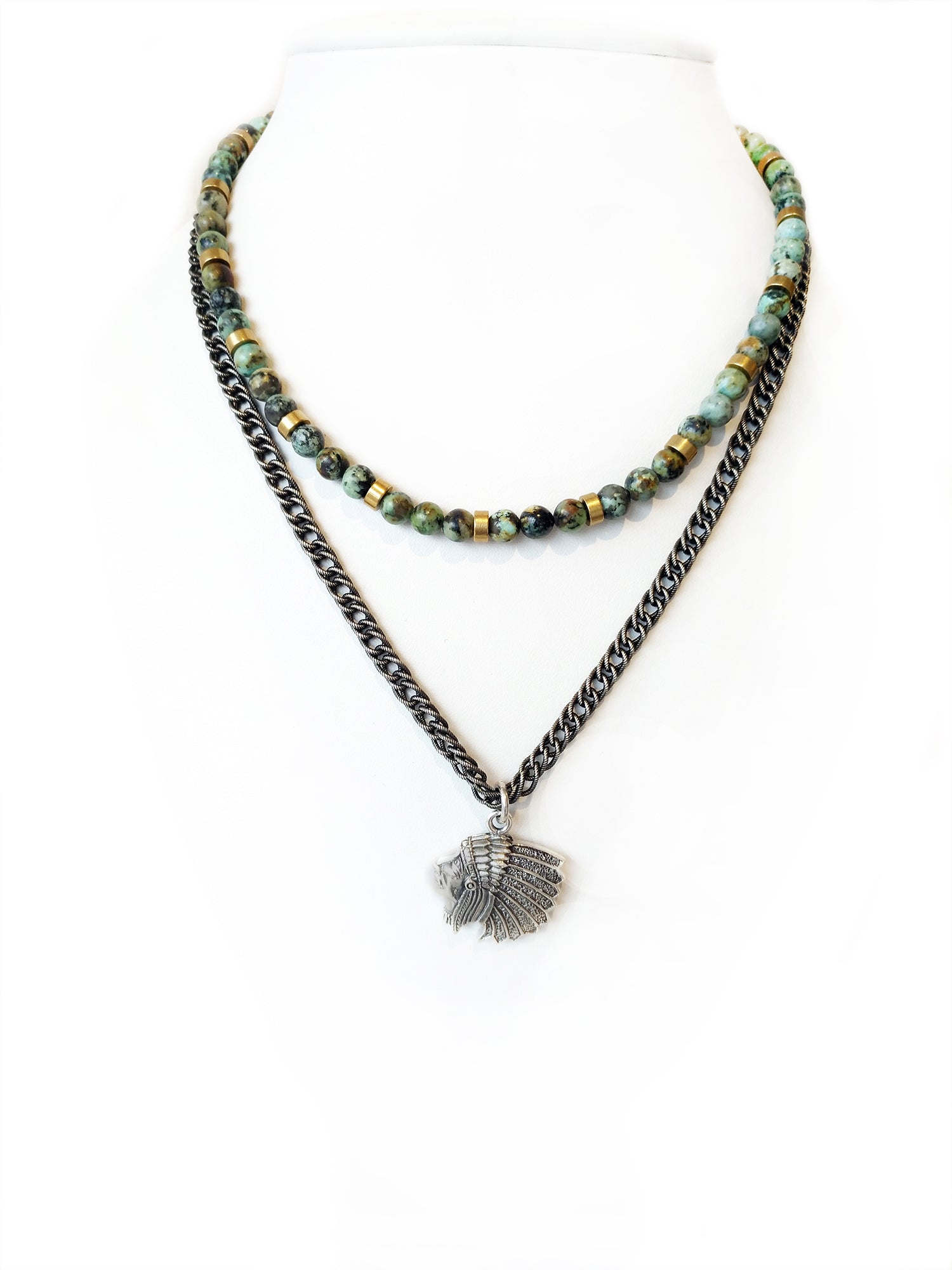 vivaterra tiered beaded kantha necklace