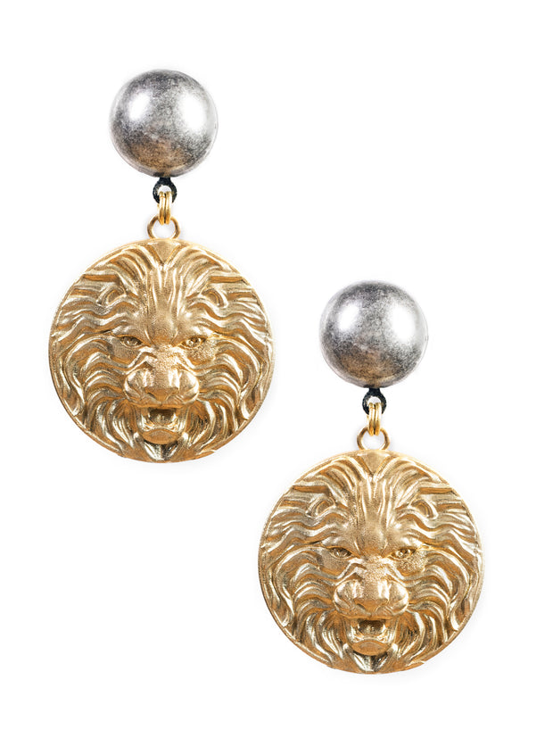 Lioness Medallion Earrings