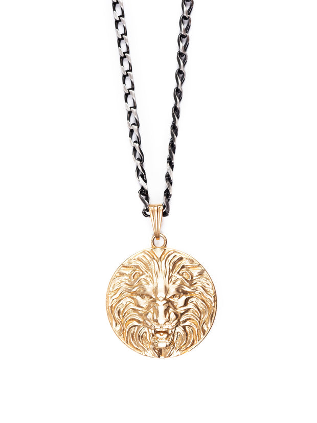 Fredrick Prince Lion Medallion Necklace with silver chain