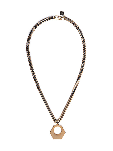 Antique Style Curb Link Chain with Gold Geometric Pendant