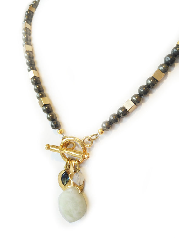 Beaded Pyrite Necklace with Toggle in Front