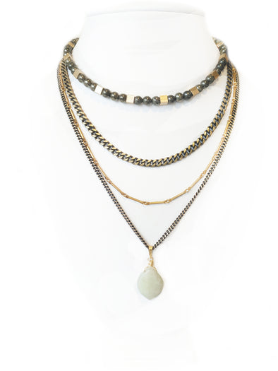 Fredrick Prince Becca Tiered Necklace with Jade Pendant