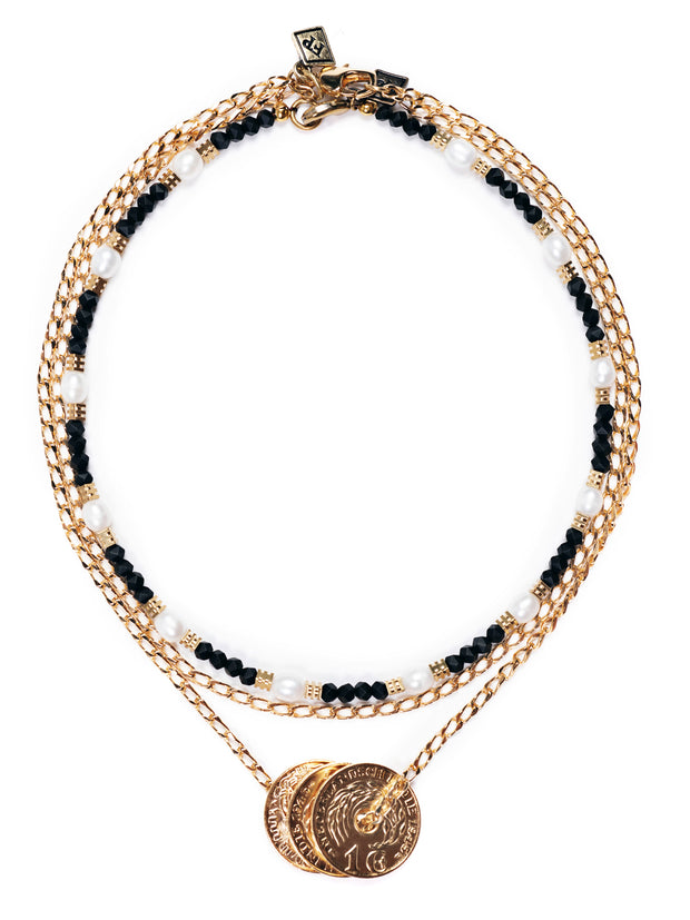 Fredrick Prince Sienna Black Onyx Necklace with gold coin