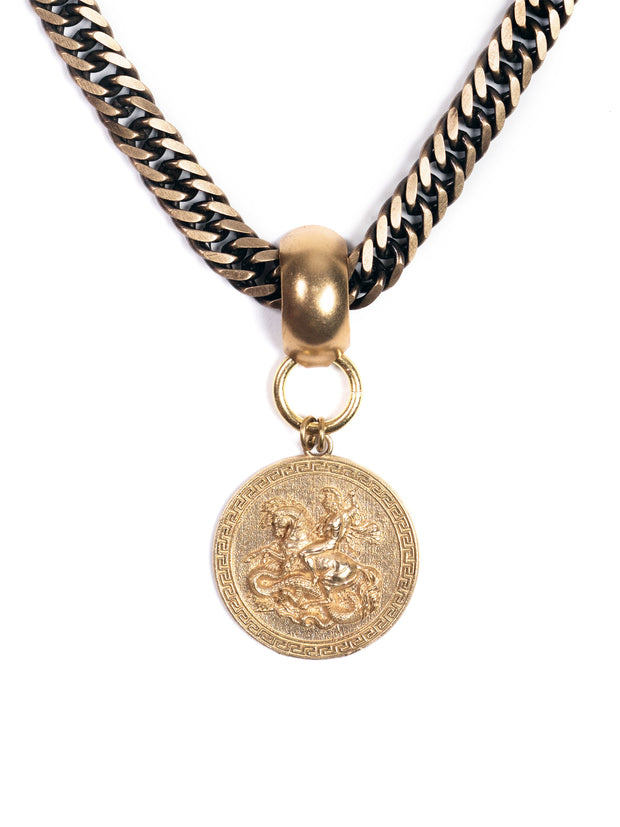 UNISEX St. George & The Dragon Proverb Medallion Necklace