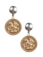 St George and the dragon Medallion Earrings