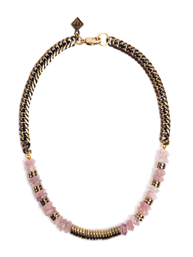 Hermosa Beach Strawberry Quartz Necklace