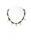 Fredrick Prince Bronzite Beaded Tribal Necklace with River Stone Beads