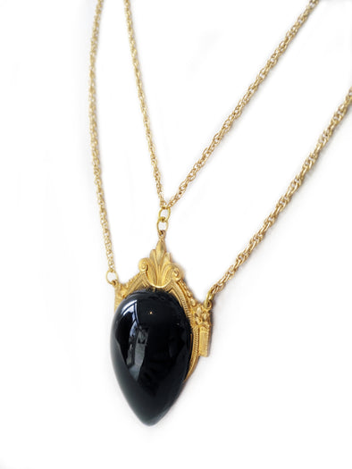 Victorian Necklace with Black Pendant