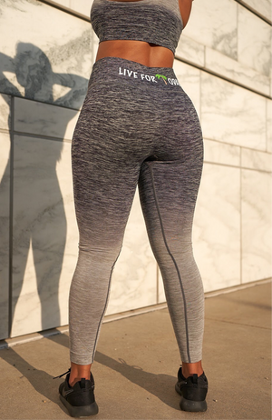 woman in two tone leggings