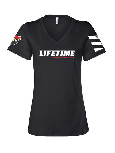 2019 Ladies of Lifetime 2019 BLACK Short Sleeve NINJA Women's V-Neck Shirt