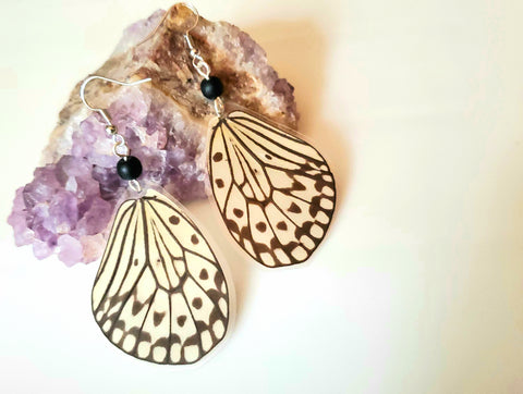 Tree Nymph Butterfly Earrings, Rice Paper Kite Butterfly Earrings