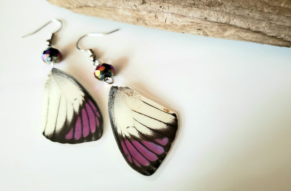 Purple Tipped Butterfly Wing Earrings, Earwings, Purple and White Butterfly