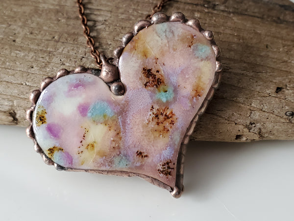 Glazed Pink Ceramic Heart Pendant,