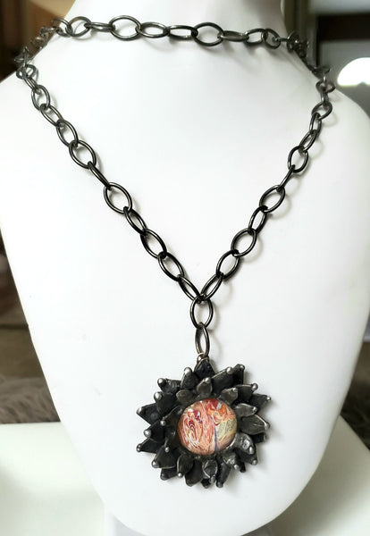 Paint Dripping Sunflower Gunmetal Necklace