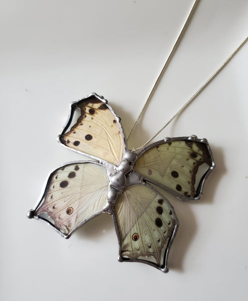 Mother of Pearl Butterfly Necklace, Real Shimmering Butterfly Pendant