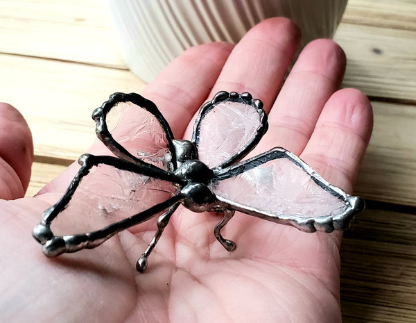 Frosted Antique Glass Butterfly Figurine