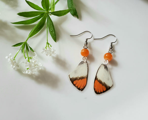 Small Orange Tupped Butterfly Earrings