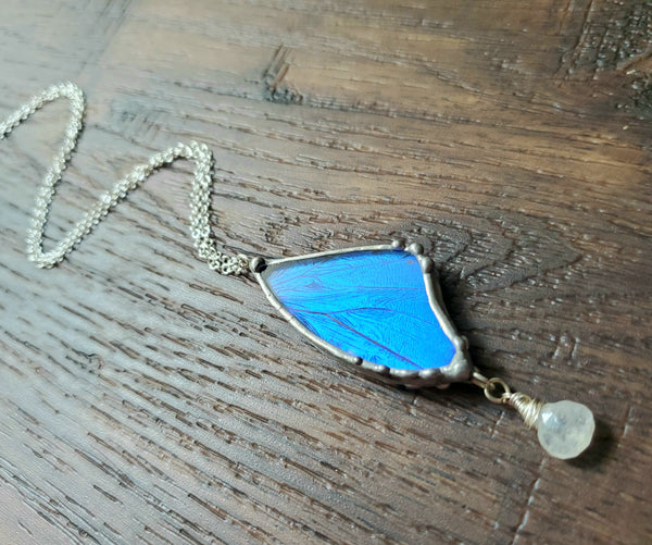 Blue Butterfly & Moonstone Necklace, Morpho Butterfly Necklace
