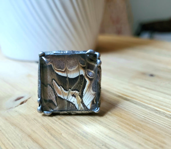 Silk Moth Adjustable Ring, Square Ring
