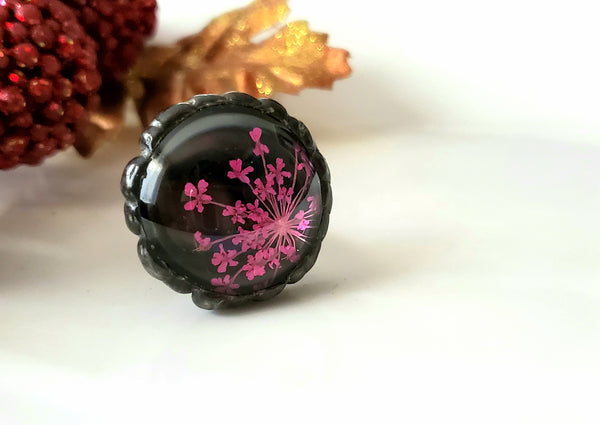 Real Pink Pressed Flower Statement Ring