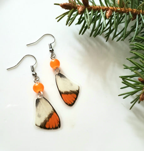 Small Orange Tip Butterfly Wing Earrings