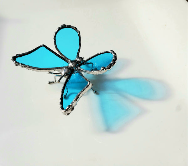 Blue Stained Glass Butterfly Statuette