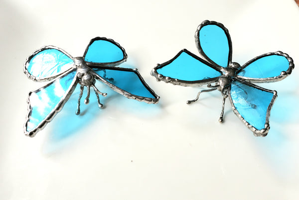 Sky Blue Stained Glass Butterfly Statuette