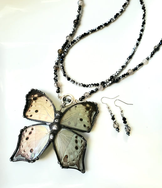 Mother Of Pearl Crystal Gemstone Necklace Set