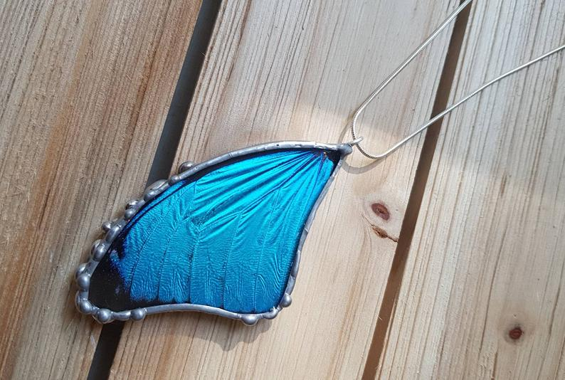 Real Blue Morpho Butterfly Wing Pendant, Butterfly Necklace, Blue Butterfly Necklace