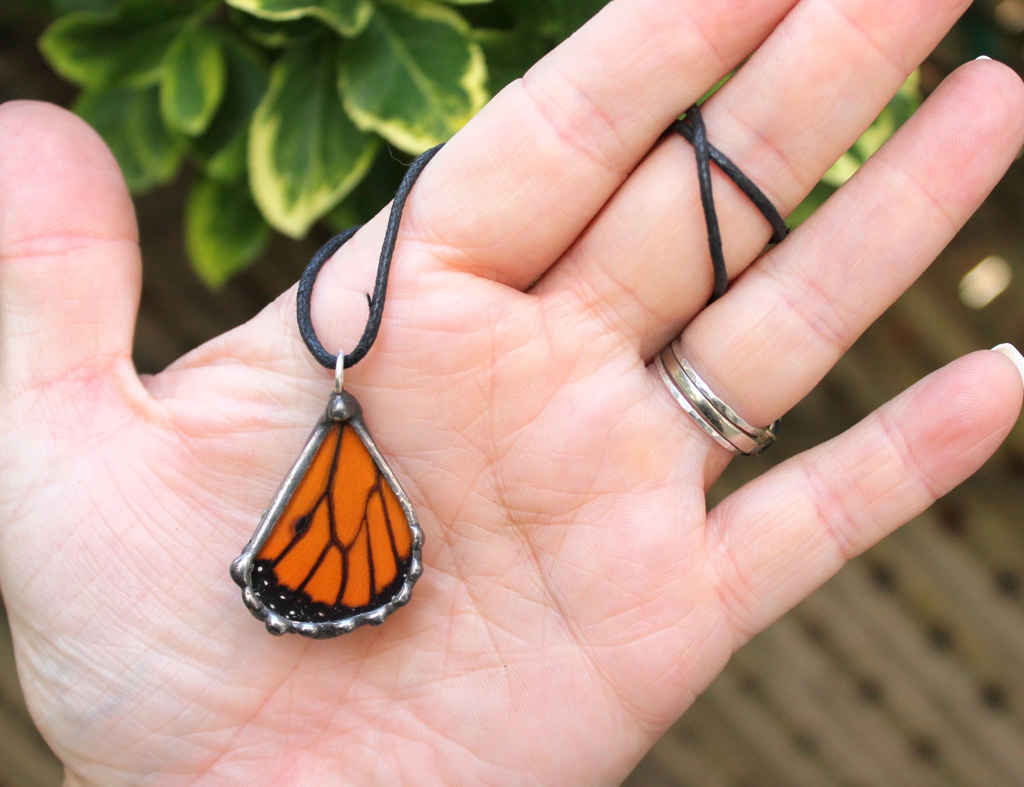 Small Monarch Butterfly Wing Pendant, Monarch Hindwing Pendant, Children's Monarch Butterfly Necklace