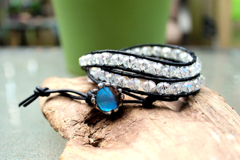 Clear Crystal Black Leather Wrist Wrap with Blue Butterfly Wing Button