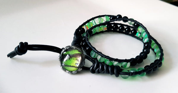 Green AB Seaglass and Agate Birdwing Butterfly Wing Wrist Wrap