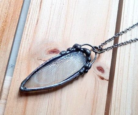 Dragonfly Wing Gunmetal Pendant, Steampunk Jewelry, Goth Style Jewelry