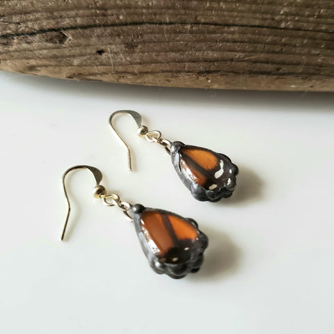 Monarch Butterfly Wing Tiny Teardrop Earrings