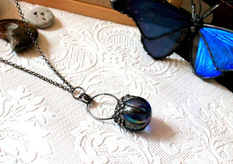Vintage Mirrored Blue Marble Claw Necklace, Crystal Ball Claw Pendant