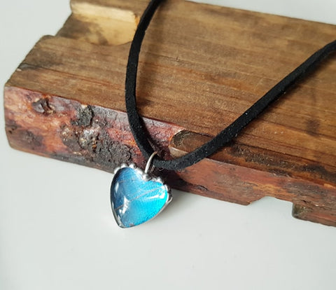 Heart Shaped Blue Butterfly Necklace, Tiny Blue Morpho Heart Pendant