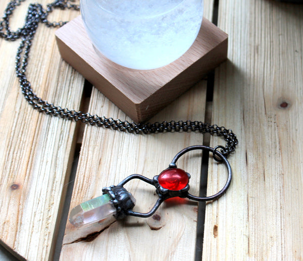 Rose Luster Quartz Point Necklace, Lustre Quartz Pendant, Rose Quartz Jewelry