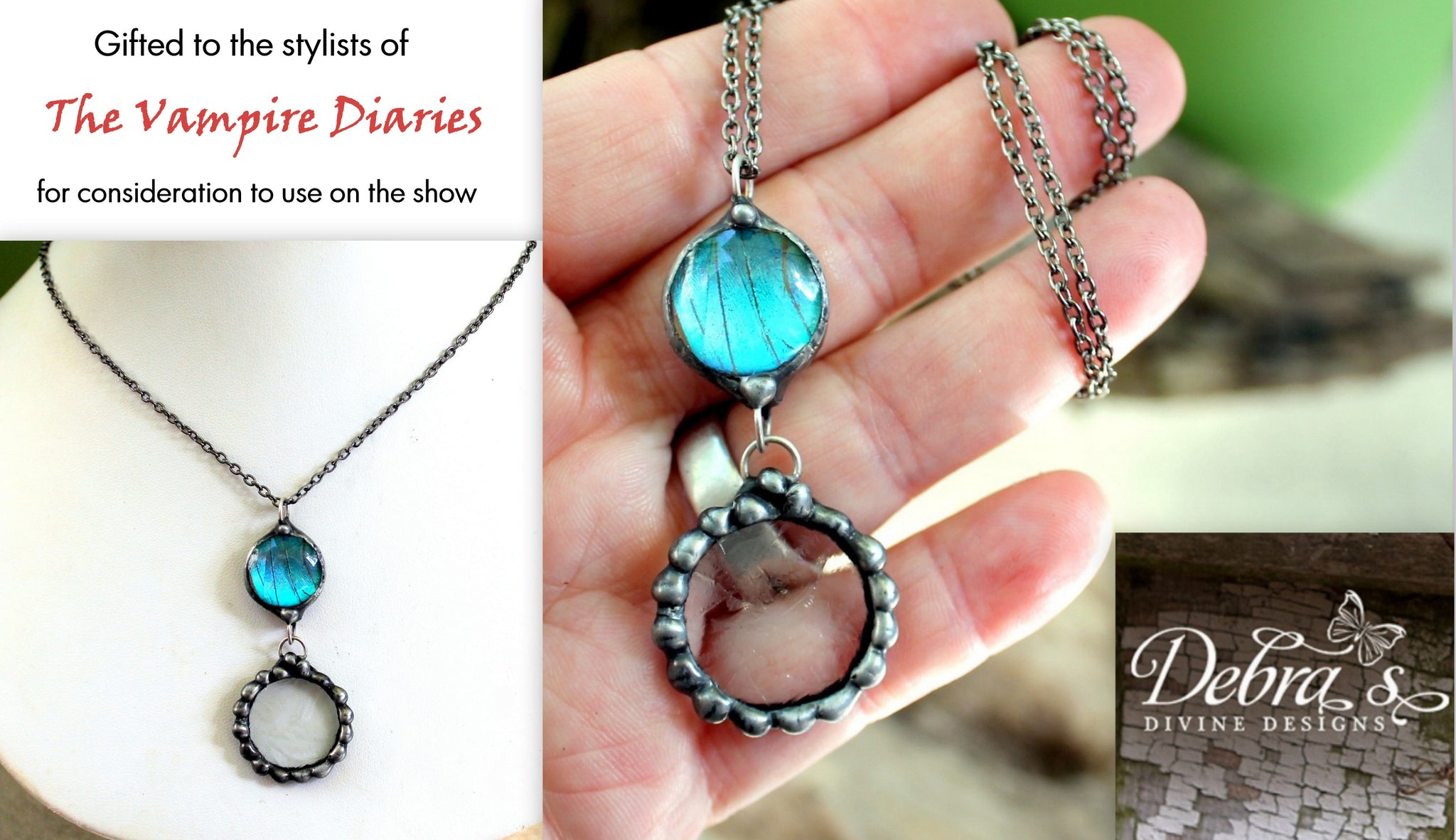 The Vampire Diaries Submission, Gunmetal Blue Butterfly Wing Necklace with Antiqued Frosted Glass,