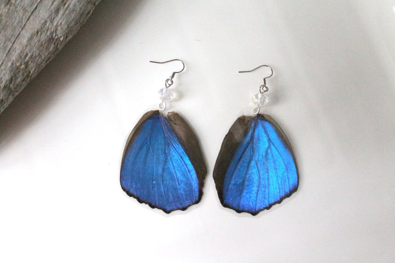 Blue Morpho Butterfly Hindwing Earrings with Clear Faceted Crystal