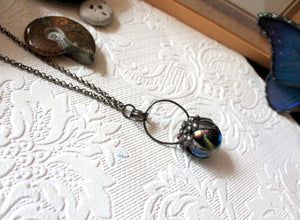 Vintage Marble Claw Necklace, Crystal Ball Claw Pendant